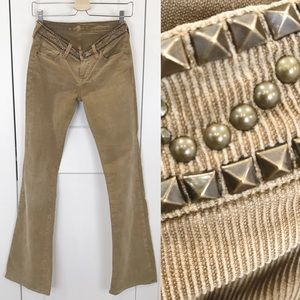 7 for All Mankind tan corduroy flare jeans